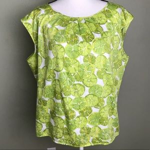 Talbots Lime Button Down Back Sleeveless Top 20